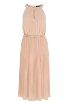 Be pretty as a picture in this on trend chiffon pleated dress. The piece features a stylish midi skirt with mini pleats for a timeless look. The dress is finished with a high, round neckline and a keyhole cutout on the front.