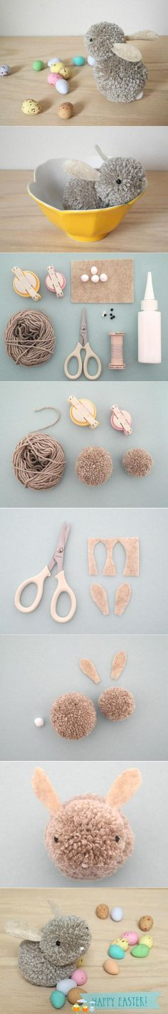 Visual instructions on how to make a cute little pom pom bunny.
