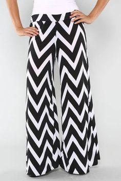 Palazzo Black and White Chevron zig zag Pants Plus Size :: Gypsy Ranch Boutique