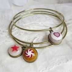 Boho Chic Bangle Set, Fused Glass Bracelets, Stacking Bangles, Bohemian Gypsy Jewelry