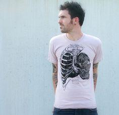 Mens TShirt  Rib Cage and Lungs  Natural by darkcycleclothing, $24.00