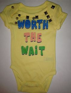 Worth the Wait Studded Onesie by LuLuChris58 on Etsy
