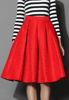 Jacquard Rose Pleated Midi Skirt in Red - Skirt - Bottoms - Retro, Indie and Unique Fashion