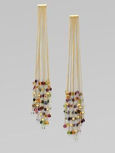 18K Gold Semi-Precious Multi-Stone Duster Earrings. I'm imagining these with a really simple jersey dress and maybe a smooth low bun.