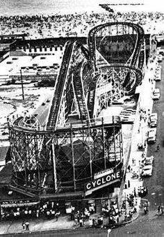 The Cyclone roller coaster (1927 - present) at Coney Island, in Brooklyn, New York. It traveled approximately six miles per hour and cost a nickel to ride. This roller coaster masterpiece cost Jack and Irving Rosenthal $100,000 to build, but it returned their investment within weeks after it debuted on June 26, 1927. It was a fast twister coaster set in a figure 8 design. and a true trilling ride.