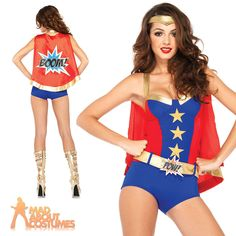 Adult Comic Book Girl Costume Sexy Superhero Cape Fancy Dress Outfit Leg Avenue