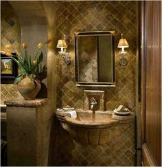 Tuscan bathroom with stone sink awesome