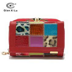 Qianxilu Brand Fashion Genuine Leather Patchwork Wallet Women Small Purse Female Short Design