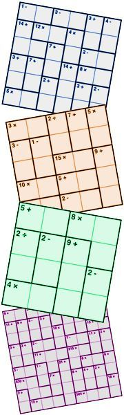 1000s of free Kenken / Inky puzzles. Great for building mathematical thinking skills and having fun.