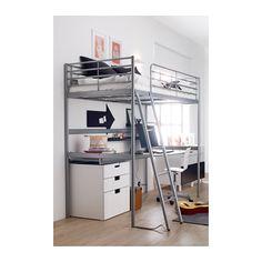 SVÄRTA Loft bed frame, silver color silver color Twin