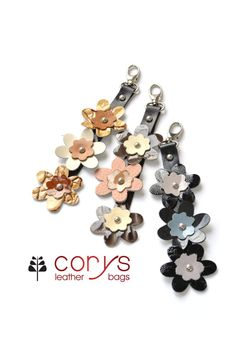 HANDMADE LEATHER FLOWERS Keyring Leather Bag Charm by CORYSBAGS