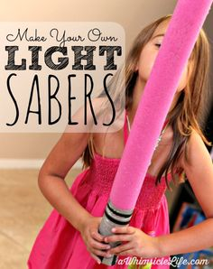 The BEST toy I have ever made for my kids.  One year later, my two children still play with these light sabers everyday.  This craft is so easy.  All you need is a pool noodle and some duct tape.