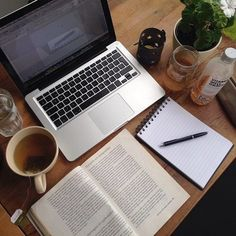 Image via We Heart It https://weheartit.com/entry/140917453/via/6070276 #book #computer #pen #read #study #tea