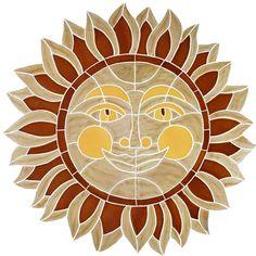 "Mosaic Tile Sun - Ceramic Desert Sun Mosaic 24""x24"""