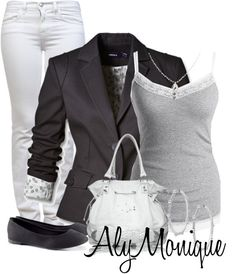 ba9e1666f25e Get this look on  Wheretoget or see more  aly monique  jeans  white jeans   jacket