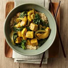 This Delicata Squash & Tofu Curry Recipe is super tasty served over quinoa.