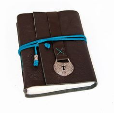 Black Leather Journal with Heart Shaped Lock Charm Bookmark $28