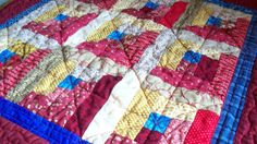 QUILT 20 in square Patriotic Log Cabin Quilt by quiltingcafe, $35.00