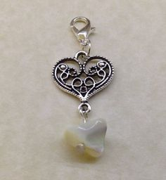 MOTHER Of PEARL Gemstone Tibetan Silver HEART KEYRING - Bag Handbag Charm Chakra