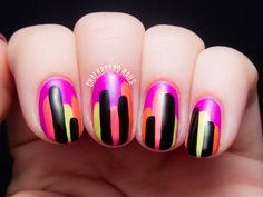 Neon Block Drips - Color Club Poptastic Remix Nail Art by @chalkboardnails