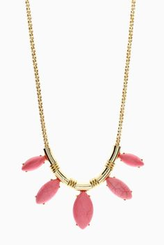 Gold-Pink-Stone-Bib-Necklace/Earring-Set