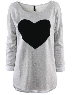 Large heart grey t-shirt