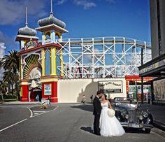 Julia and Paul's Wedding http://www.tripler.com.au #wedding #lunapark #stkilda #weddingcars #classiccars #tripler #melbournewedding