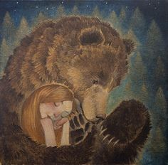 Lucy Campbell is a contemporary Scottish painter whose work contains elements of maigcal realism as well as mythic and folk symbolism. Spirit Bear, Spirit Animal, Art D'ours, Desenho Tattoo, Love Bear, Art Et Illustration, Bear Art, Whimsical Art, Art Inspo