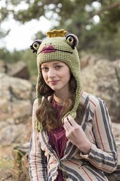 Ravelry: Frog Princess & Prince Hats pattern by Brenda K. Anderson - from her book Crochet Ever After: 18 Projects to Crochet Happily Ever After Crochet Hat For Women, Crochet Kids Hats, Baby Hats Knitting, Knitted Hats, Crochet Frog, Crochet Cap, Cute Crochet, Mermaid Purse, Frog Princess