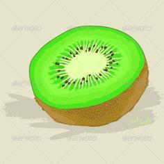 Hand Drawn Fresh Kiwi Fruit