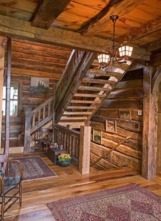 Rustic Staircase, Wooden Staircases, Wood Stairs, Staircase Ideas, Timber Staircase, Open Stairs, Stair Railing, Railings, Log Cabin Living
