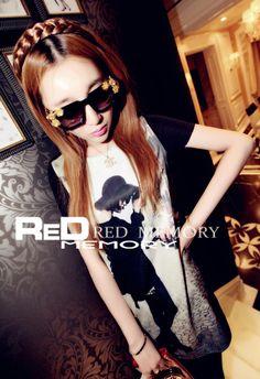 T1435002 潮款時尚印花圓領短袖長版T恤-黑 RM25