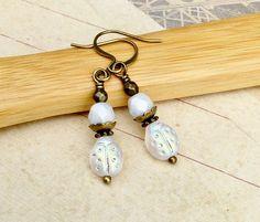 White Earrings Ladybug Earrings Dainty Earrings Small White