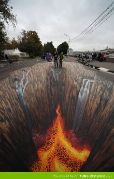 Street art inspireert om zijn bizarre 3D tekeningen en geeft mij het idee om eens te proberen