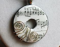 Wire Wrapped Sheet Music Washer Pendant