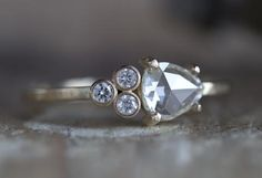 Natural Clear Rose Cut Diamond Cluster Ring- Limited Edition