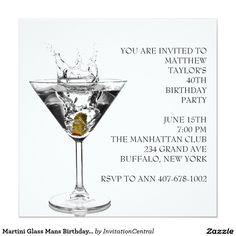 Martini Glass Mans Birthday Party 5.25x5.25 Square Paper Invitation Card