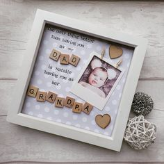 "Only 3 days left to order these in time for Fathers day! 👌 ""The only thing better than having you as my Dad, is my baby having you as her Grandad!"" 💙 #goodmorning 👋 #fathersday #daddy #fathers  #daddyandme #love #instapic #baby #babyboy #babygirl #scrabbleframe #craftersofinstagram #etsyshop #etsyseller #craftymama #mycreation #customised #personal #mycreativebiz #craftyfingers #shabbychic #shabbydecor #mamasofinstagram #motherhood #instabeautiful #instalove #parentlife #babylove…"