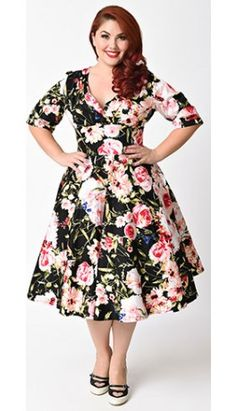 a7d1c6f9e1cc8 Unique Vintage Plus Size 1950s Style Black   Pink Floral Delores Swing  Dress Hipster Vintage Fashion