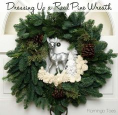 Dressing Up A Real Pine Wreath » Flamingo Toes