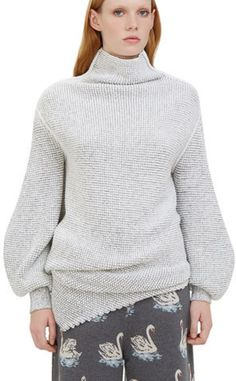 Oversized Asymmetric Bi-Colour Knit Sweater