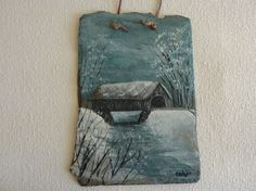 Vintage Painted Slate Wall Hanging - Covered Bridge - Artist Signed - Collectible