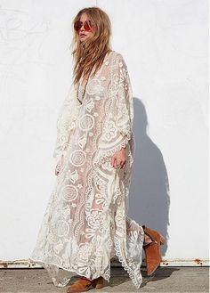 MagBridal Bridal Dresses Online,Wedding Dresses Ball Gown, in stock sexy sheer lace v neck maxi dress Maxi Dress With Sleeves, Lace Sleeves, Lace Dress, Lace Kimono, Lace Chiffon, Lace Maxi, Tulle Lace, Gypsy Style, Bohemian Style