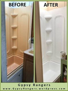 Camper Renovation 682013937302116089 - RV Bathroom Updates: Shower/Tub Refinishing – Gypsy Rangers Source by Kombi Motorhome, Rv Campers, Camper Trailers, Campervan, Douche Camping Car, Tub Refinishing, Camper Bathroom, Camper Kitchen, Camper Renovation