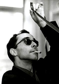 "Jean Luc Godard (1930) - French-Swiss film director, screenwriter and film critic. He is often identified with the 1960s French film movement La Nouvelle Vague, or ""New Wave"""