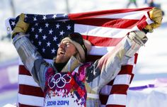 Kotsenburg celebrates after winning gold in the men\'s snowboard slopestyle final.