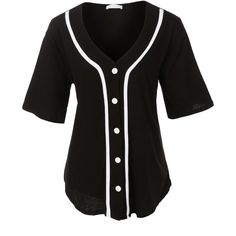 LE3NO Womens Oversized Button Down Short Sleeve Baseball Shirt ($21) ❤ liked on Polyvore featuring tops, shirts, jersey shirt, baseball top, baseball button up shirt, baseball shirts and baseball jersey shirts