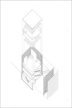 "Exploded Axon : Kunsthaus Bregenz by Peter Zumthor Hand Drawn : Ink on Mylar 24"" x 36"""