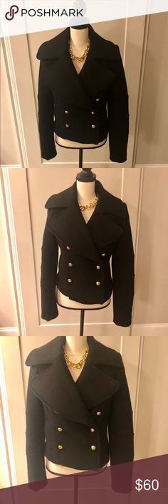 41bb881cc11 NWOT Zara Woman Black cropped Pea Coat Size L Zara Woman Black cropped Pea  Coat.