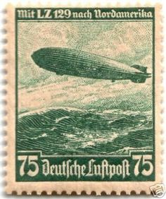 RARE-NAZI-STAMP-w-ZEPPELIN-HINDENBURG-AIRSHIP-ON-ITS-1ST-FLIGHT-TO-USA-Cancelled